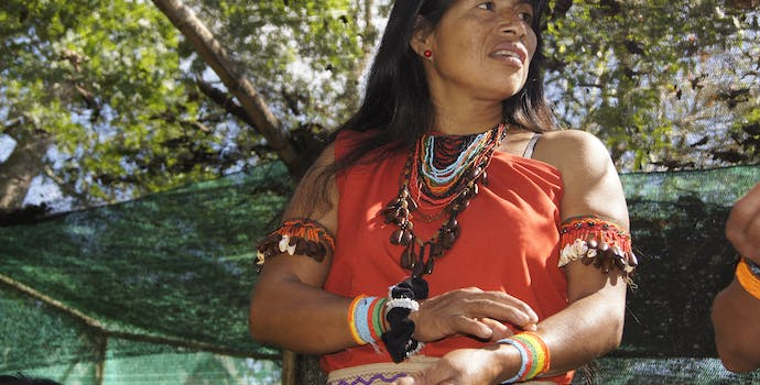 Members of the Awaún community in the village of Shampuyacu, in the buffer zone of the Alto Mayo Protected Forest.