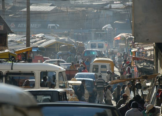 Dense traffic and crowds in Antananarivo, Madagascar.