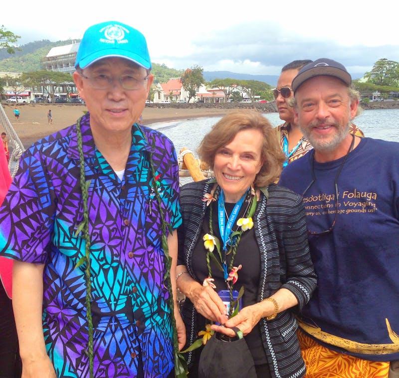 From left: U.N. Secretary General Ban Ki-moon, ocean conservationist Sylvia Earle and Greg Stone in Apia, Samoa.