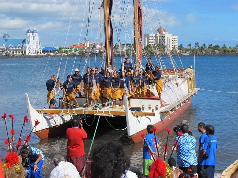 Crew aboard the Hokule'a upon arrival in Apia, Samoa.