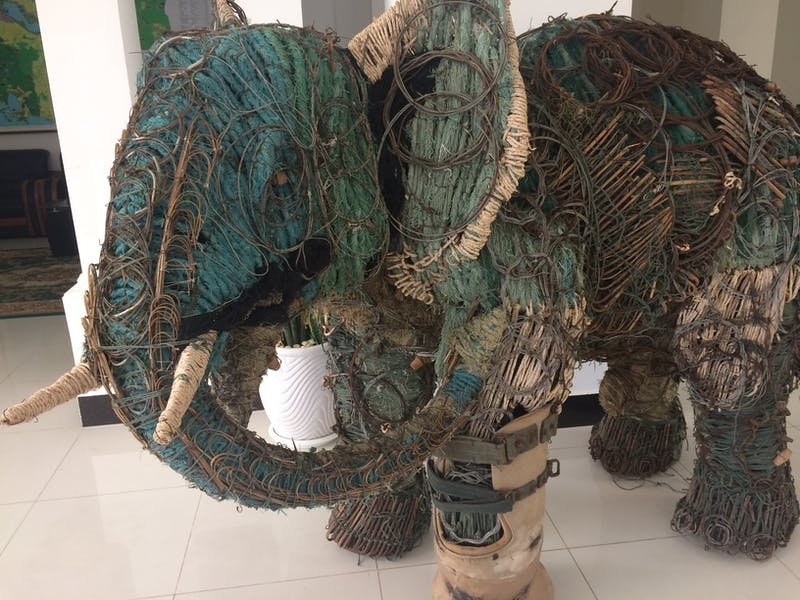 An elephant sculpture made of snares as part of The Capture Project.