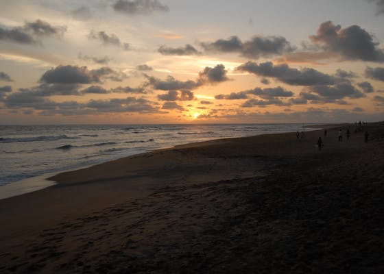 Sunset over beach in Liberia