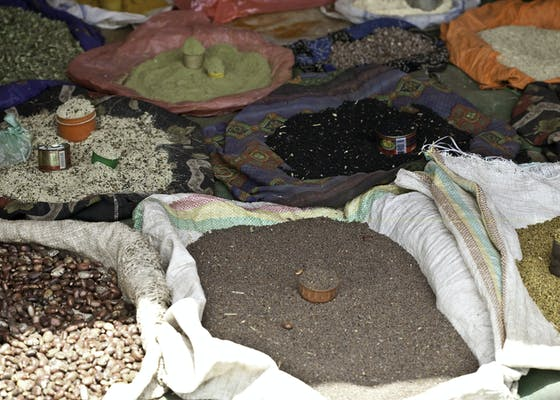 Culinary spices displayed at a market in the Bale Mountains of Ethiopia
