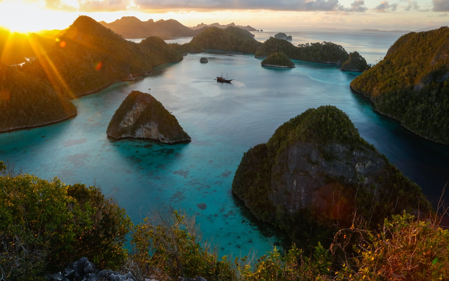 Beautiful view of Wayag Lagoon from the peak of one of the many islands in the Bird's Head Seascape, West Papua.