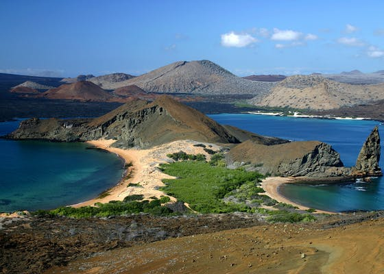 View from the top of Bartolome Island, part of the Galapagos Islands