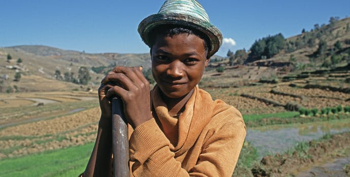 Young malagasy worker with rice paddies in the background.
