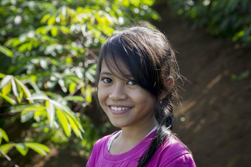 Zahra, daughter of Kardi, an Indonesian farmer
