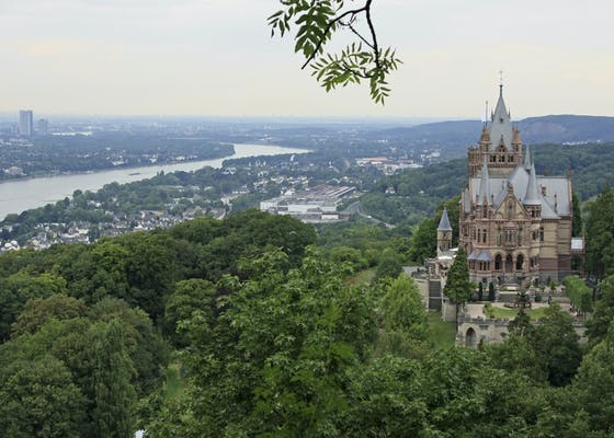 Scenic view of Palace Dragon Castle in Bonn, Germany
