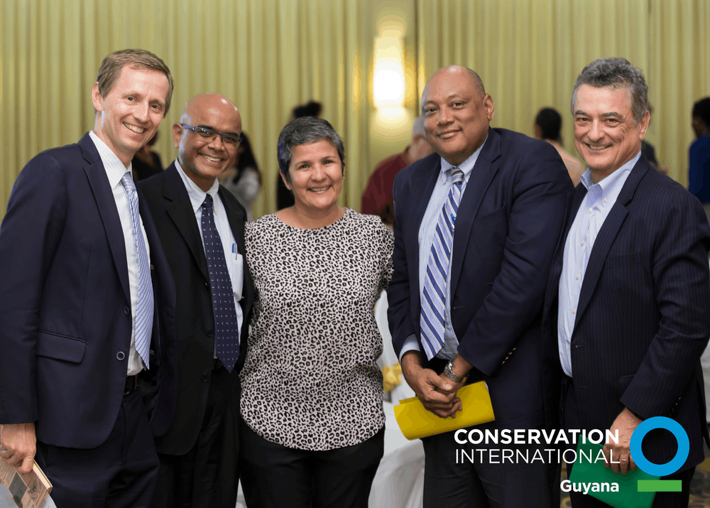L to R: Dr. Sebastian Troeng; Dr. David Singh; Ms. Annette Arjoon; Raphael Trotman and Dr. Gustavo Fonseca