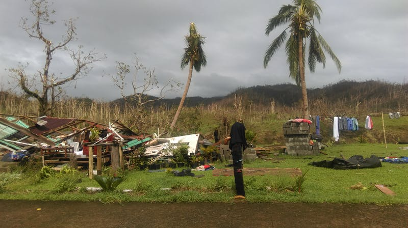 Damage from Tropical Cyclone Winston in Fiji's Ra province.