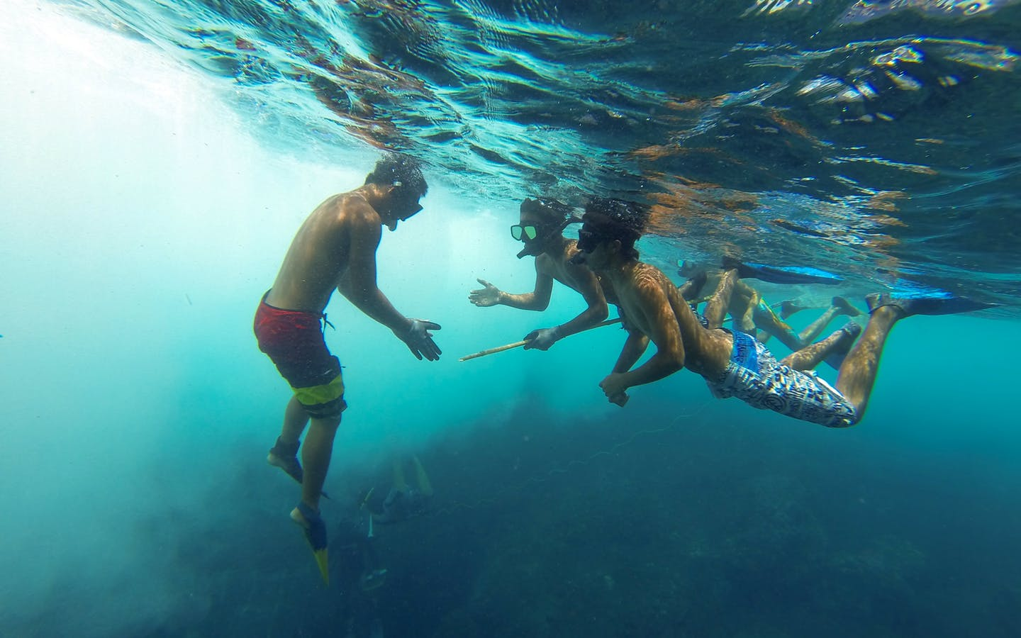 Free diver teaching youth how to sustainably harvest fish using a three-prong spear.