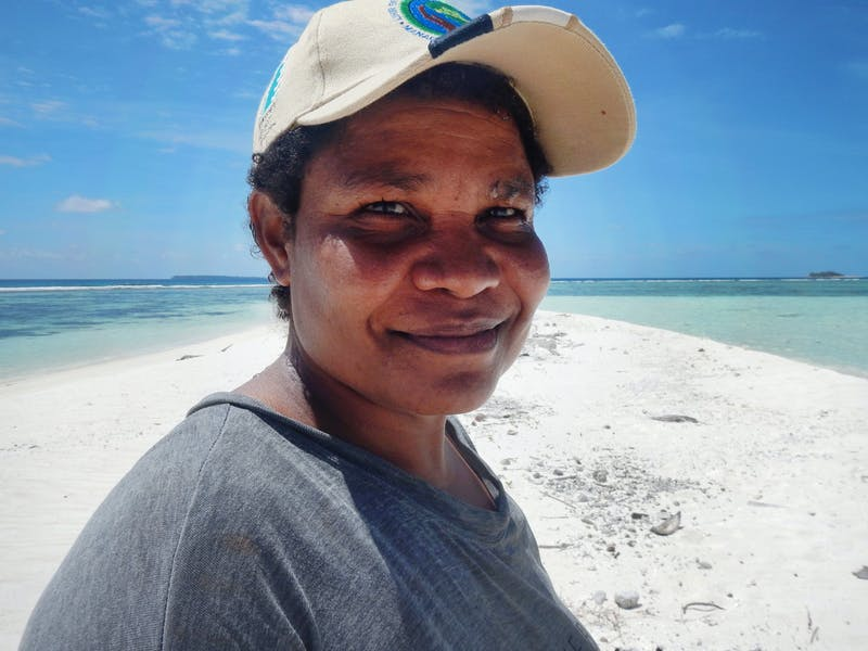 Serena Ketaloya, who lives in the village of Porotona in Papua New Guinea's Milne Bay. Serena has been collaborating with CI to start conversations about environmental management among local women.