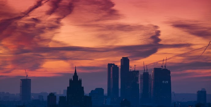 Moscow skyline at sunset
