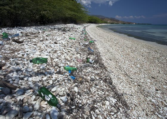 Bottles litter a beach on the south of Ile de La Gonave in Haiti.