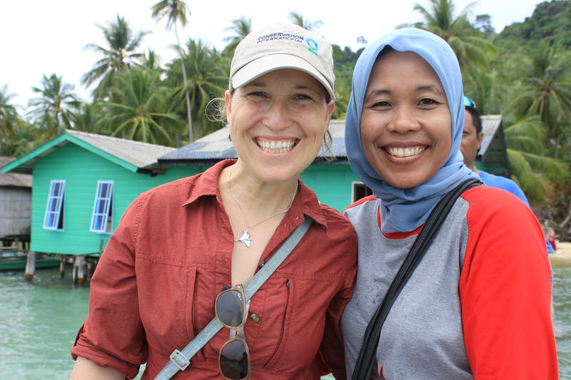 CI staff Laure Katz and Dewi Anggraini in Telaga, a village in Indonesia's Anambas Islands.