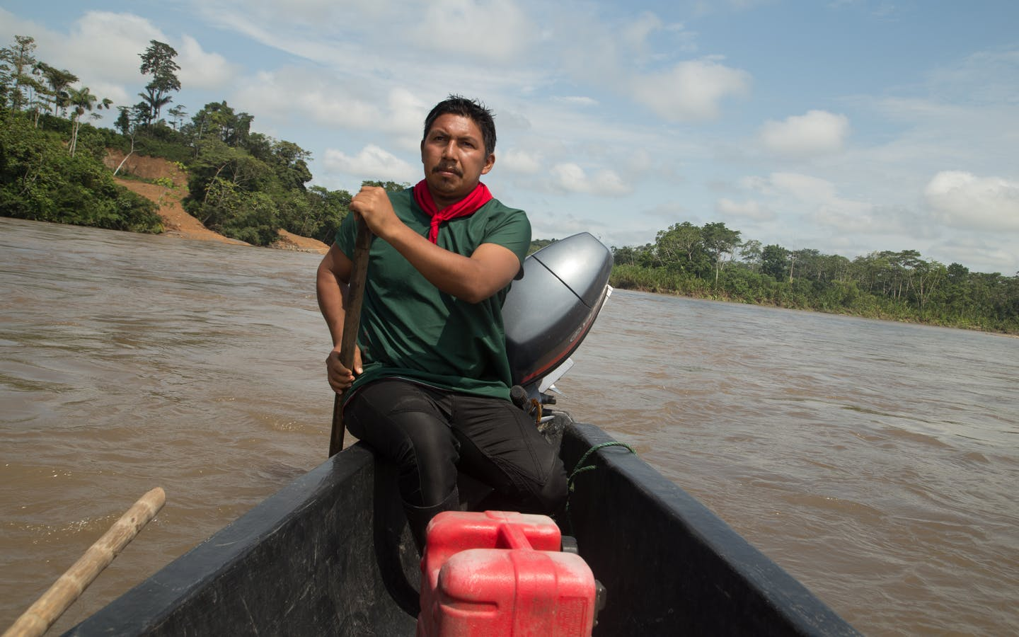 Man on boat in Amazonia