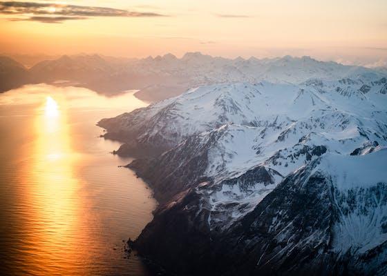 Ariel view of mountains in Alaska's Aleutian Islands