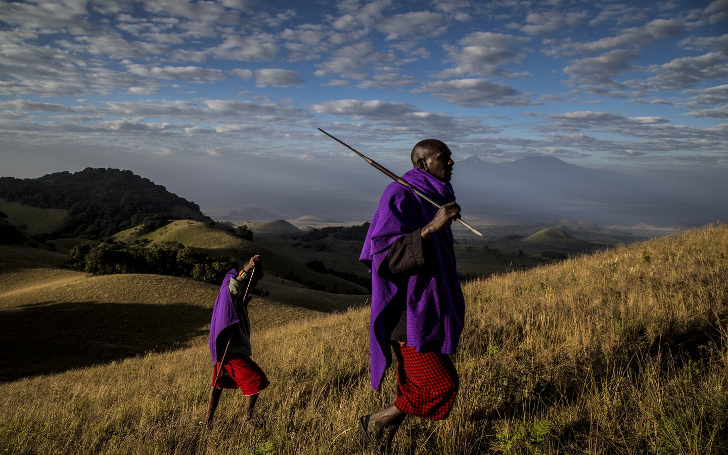 Two Maasai guides in Chyulu Hills, Kenya