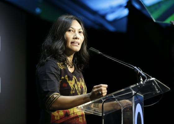 Meity Mongdong speaks onstage at the Conservation International + ELLE Los Angeles Gala at Milk Studios on June 08, 2019 in Hollywood, California.