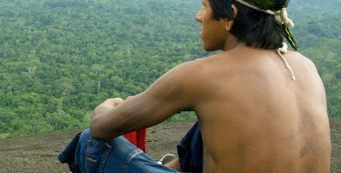 A Kayapo man rests atop a mountain, observing the forest below.