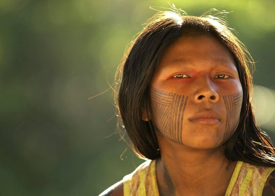 Portrait of a woman in the village of Ayukre. Brazil, Kayapo Indians, Xingu region