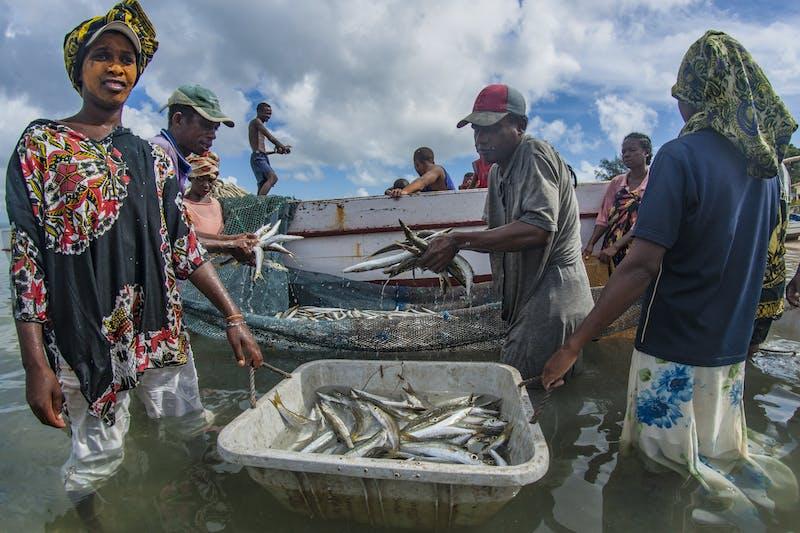 Indigenous Betsimaraka fishermen in eastern Madagascar