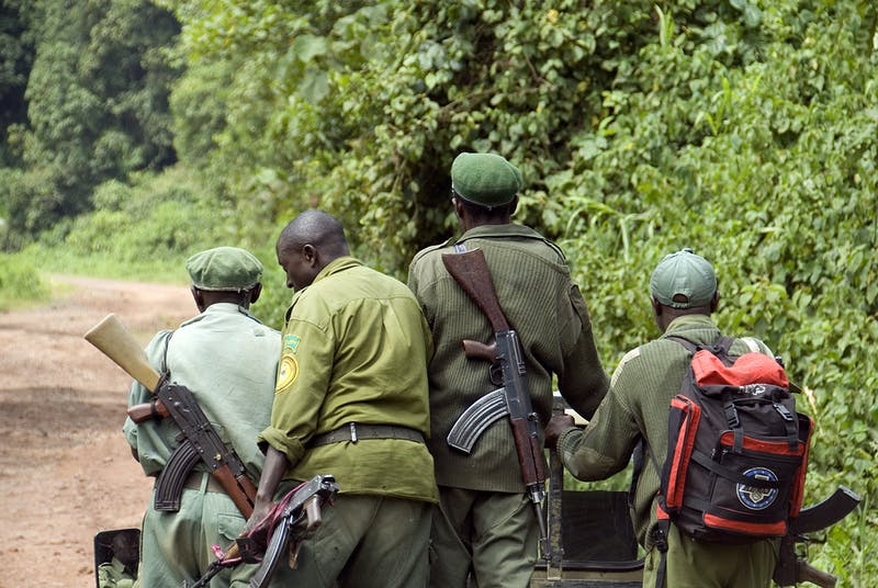 Rangers head out to patrol Kahuzi National Park, Democratic Republic of the Congo.