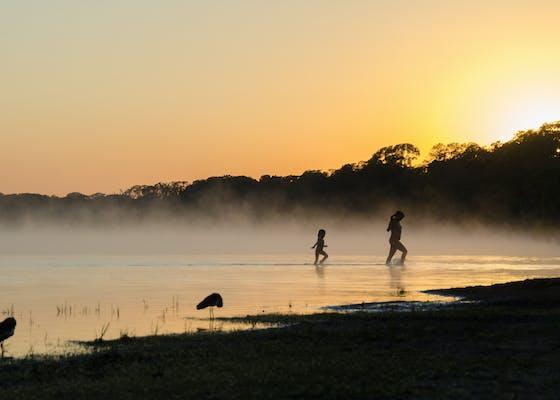 Sunrise and mist by a lake Parque Nacional do Xingu, Mato Grosso, Brazil