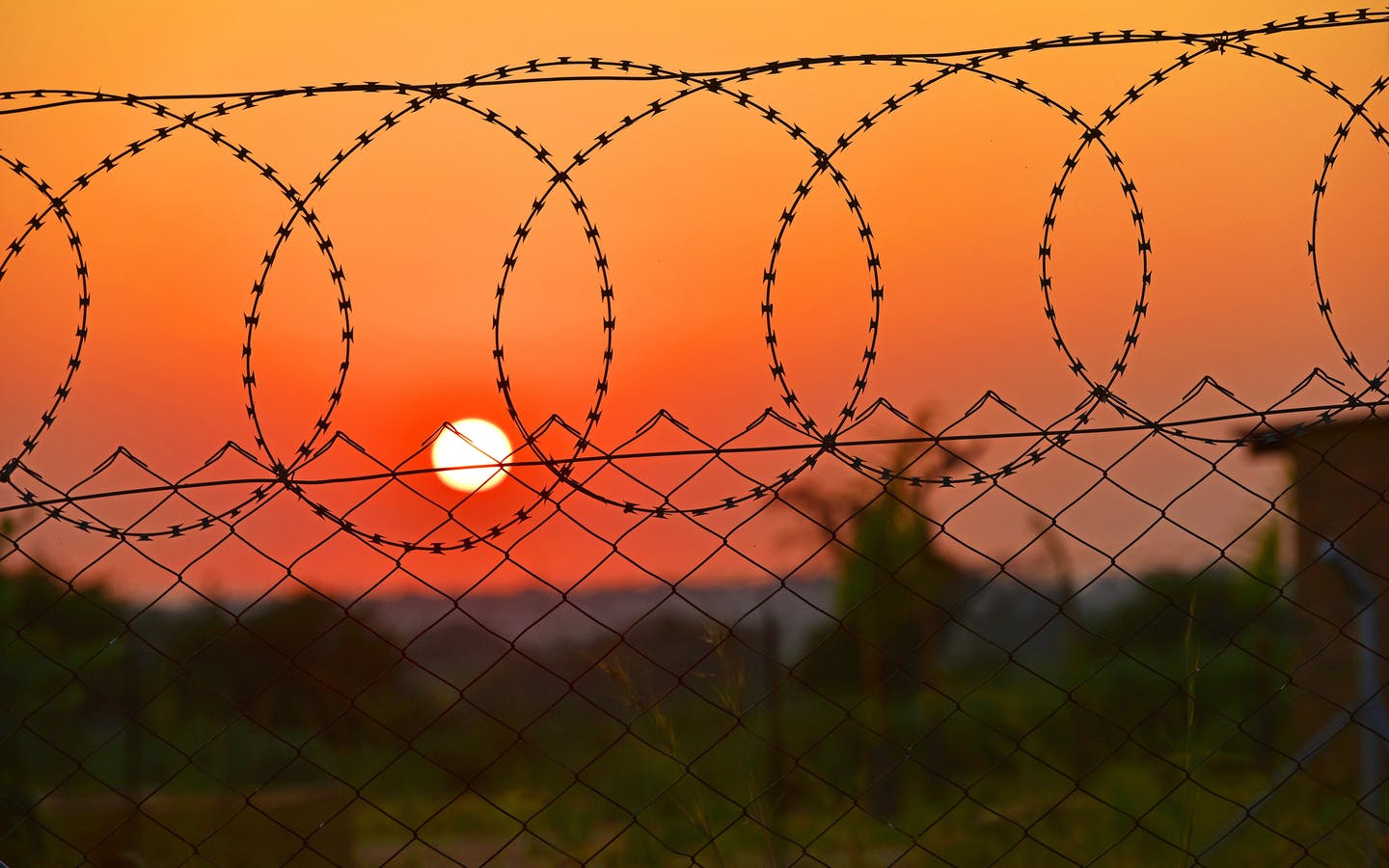 Barbed wire fence and sunset, Eastern Cape, South Africa.