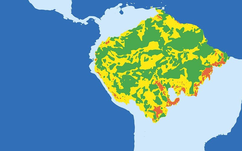 Map (simplified for communication purposes) of Amazonia's Green, Yellow and Red zones. Click to enlarge. (© Conservation International)