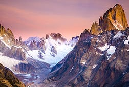 Snow covered mountains in Patagonia, Argentina