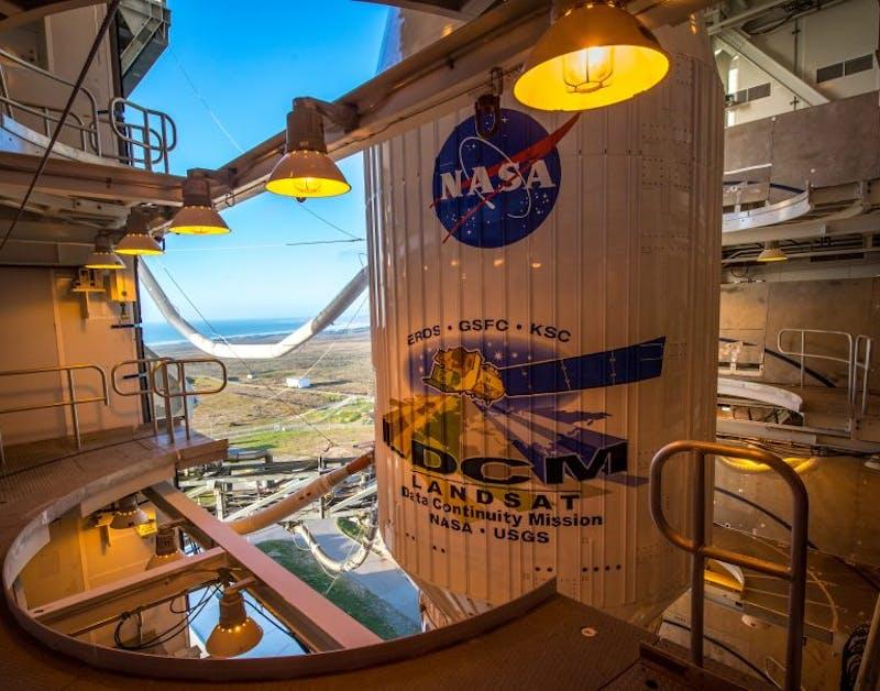 Atlas V rocket with Landsat Data Continuity Mission spacecraft onboard