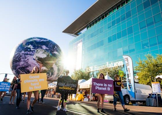 Sustainability float at ASU homecoming parade