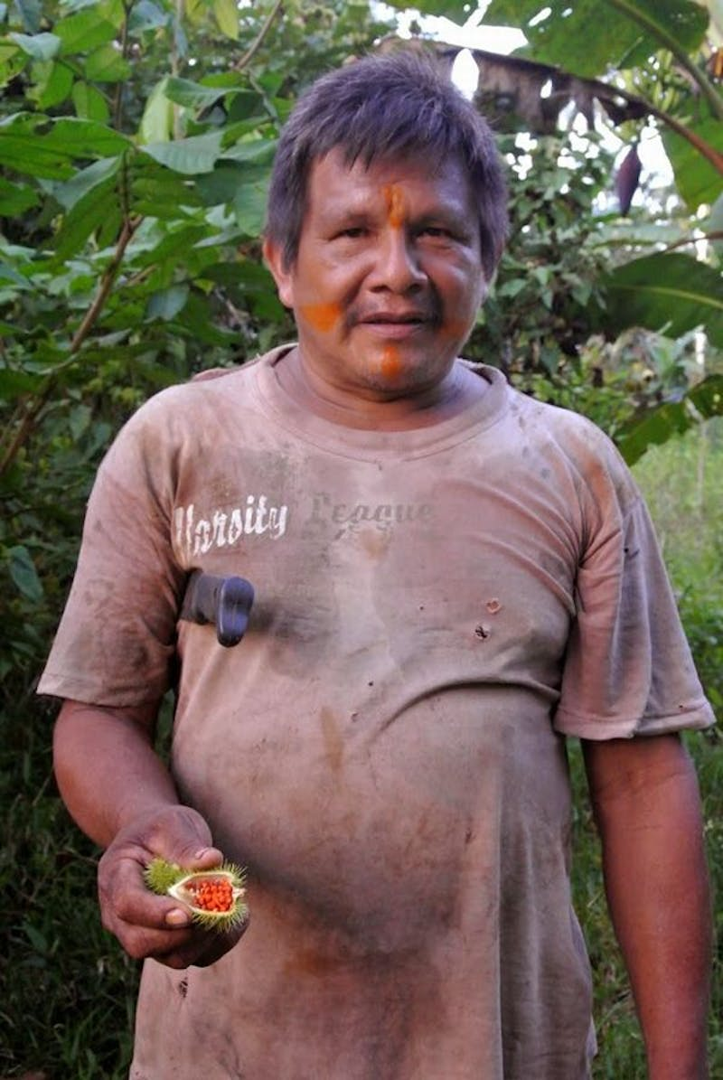 Alvaro Matapi Yucuna, a traditional owner of a maloca (community house) in Bocas del Mirití, an indigenous village in the Colombian Amazon