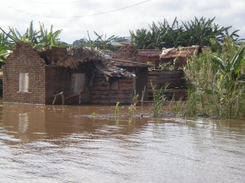 Destruction and flooding in Madagascar's Morarano municipality caused by Cyclone Giovanna in February 2012.